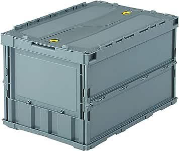 TRUSCO(トラスコ) 薄型折りたたみコンテナ 50Lロックフタ付 グレー TR-C50B-GY