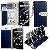 VAIO Phone VA-10J / イオンスマホLTE VAIO Phone VA-10J ケース 手帳型 カバー 手帳型 【GTO】お洒落な2トーンカラー オリジナルハンドストラップ&ネックストラップ付 3点セット PUレザー&高品質アンチグレアTPUケースを使用した手帳型PUレザーケース ネイビー