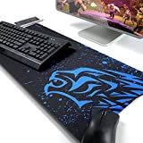 Extended Mouse Pad Thick Gaming Mouse Pad-EXCO Gaming Mouse Mat,Multiple Pattern Selection,Non-Slip Soft Rubber Computer Mouse Pad for Laptop Large Gaming Mouse Pad (Blue Leopard)