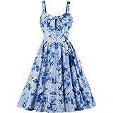 Wellwits Women's Summer Floral Print High Waist Strap Vintage Dress Sundress