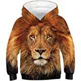 Huashao Kids Boys Girls Realistic 3D Digital Print Pullover Novelty Hoodie Long Sleeve Hooded Sweatshirt with Pocket Lion for