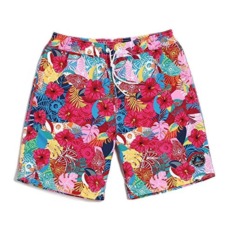 赤い花 速乾性防水ビーチパンツ 休暇 緩い水泳のトランク 男性 (サイズ : XL)