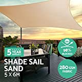 Instahut Sun Shade Sail Cloth Shadecloth Outdoor Canopy Awning Rectangle 280gsm 5x6m-Sand