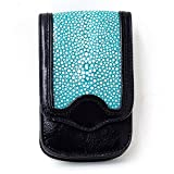 DaysArt(デイズアート)牛革 エイ皮 イタリアンレザー レザースマホケース スティングレー マグネットボタン iPhoneケース スマートフォンケース ベルト ブラック ブルー ピンク
