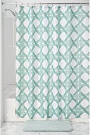 InterDesign Geometric Poly Raffia Lattice Shower Curtain