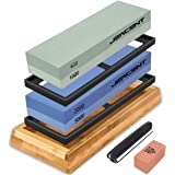 Jeacent Knife Sharpening Stone Set, 4 Side 400/1000 2000/5000 Grit Whetstone, Kitchen Blade Sharpener Stone with Non-Slip Bam