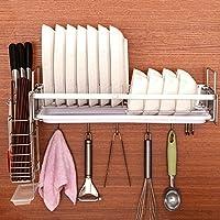 WENZHE キッチン収納りキッチンラック収納棚キッチンラックワゴンタレット料理食器ストレージドレインフック付き多機能ステンレス鋼、4のスタイル (色 : Bowl rack+knife holder)