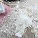 ヘッドドレス ウェディングヘッドドレス ドットベール チュール 羽 フェザー ミニ ハット帽風 ヘッドドレス ブラック ホワイト (ホワイト)