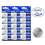 LiCB 15個 CR2032 ボタン電池 3v 2032 リチウムコイン電池