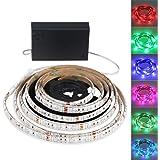 ADPOW LEDテープライト間接照明 屋内外装飾 フルカラー 切断可能 強粘着両面テープ仕様 防水 コントロール付き 2m 120個LED 電池式