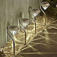 【Blume】LED ソーラー ガーデン ライト 4本セット おしゃれ 上品 綺麗 ダイヤモンド型 防水 2カラー (暖黄色)