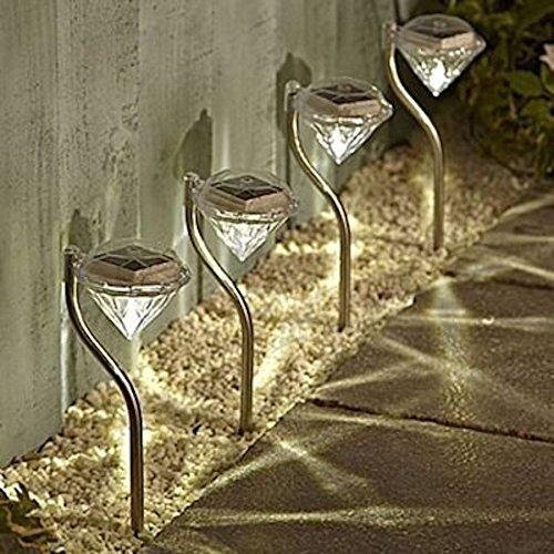 LED ソーラー ガーデンライト ダイヤモンド型 防水 2カラー (暖黄色)