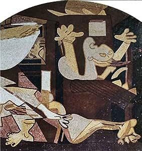 パブロ・ピカソ ゲルニカ(中央) 天然大理石モザイクアート ハンドメイド タイル壁画 壁装飾 デザインタイル 90x95cm