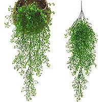 観葉植物 Sorliva 観葉植物 インテリア シミュレーション 籐植物 造花 人工偽 リビング ルームの壁の装飾 ホーム インテリア (グリーン)