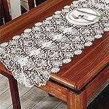 TaiXiuHome ホワイト 結婚式のための 欧風 チュール エレガントな柄レース刺繍 スタンダードタイプ テーブルランナー 50 x 70cm