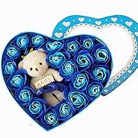 ローズ フラワー ソープ 20個セット 造花 薔薇 香り 石鹸 可愛い熊付き フラワーボックス ギフトボックス 結婚祝い 誕生日 卒業にプレゼント (ブルー)
