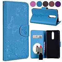Nokia 8 レザーケース、Scheam 全面保護カバー スタンド機能 収納機能革のケース グリップ 手帳型Nokia 8 携帯電話ケース(Blue)