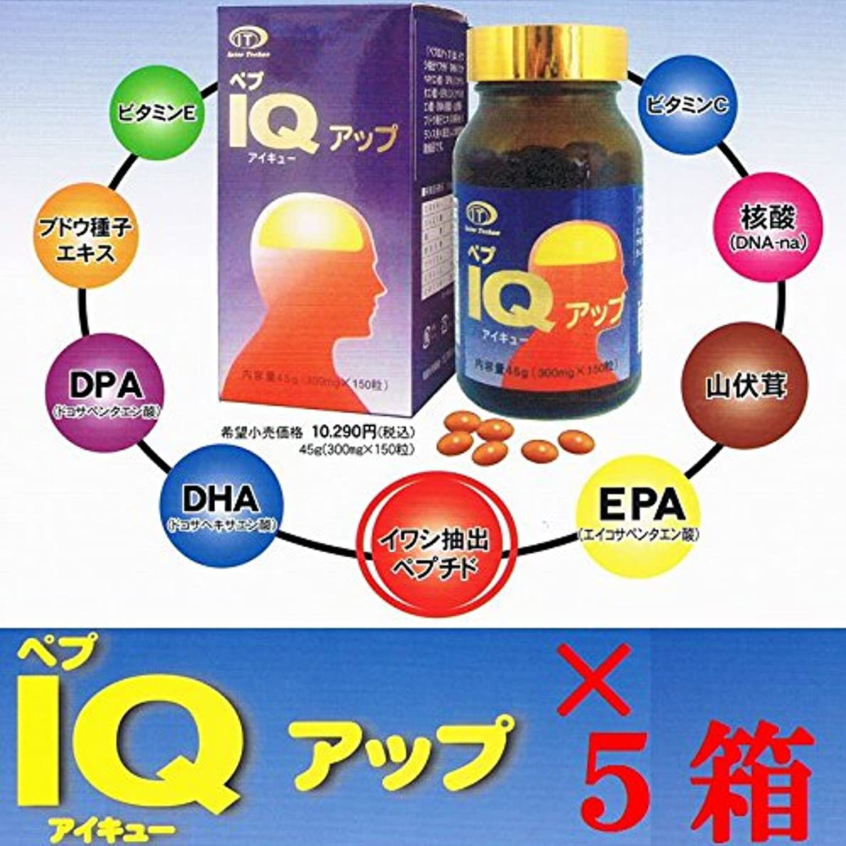 宣伝プロジェクターポルティコペプIQアップ 150粒 ×超お得5箱セット 《記憶?思考、DHA、EPA》