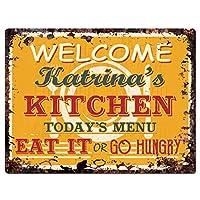 """ようこそKatrinaのキッチンシックTin Signヴィンテージスタイルレトロ素朴な9"""" x 12""""メタルプレートStoreホームインテリア誕生日ギフトアイデア"""
