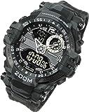 [ラドウェザー] ミリタリー腕時計 メンズ 男性用 ウォッチ 野外で使える200m防水腕時計 迷彩ブラック 黒