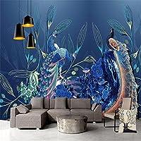 Mbwlkj 美しい 3Dカスタム動物壁紙壁画像の青い壁紙のリビングルームの装飾のベッドルームの写真の壁紙ブルーピーコック -200Cmx140Cm