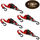 Self-Storing NeatStrap Ratchet Strap 1 in x 15 ft   4 Pack   Motorcycle, Kayak Ratcheting Strap Tie-Downs for Neat Hauling an