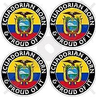 """ECUADOR Ecuadorian Born & Proud South America 50mm (2"""") Vinyl Bumper-Helmet Stickers, Decals x4"""