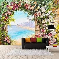 KAHSFA 3D壁紙 カスタム写真壁紙3Dステレオアーチ花風景油絵壁画リビングルームの寝室牧歌ロマンチック-250cmx175cm