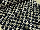 福福市松にゃんこ ネイビー紺 ドビー生地  |綿|コットン|キヤット|ねこ|猫|アニマル|動物|かわいい|布|