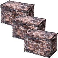 山善(YAMAZEN) どこでも収納ボックス ふた付き 3個セット カラーボックス対応 ブラウンブリック YTCT-3PF(BR)