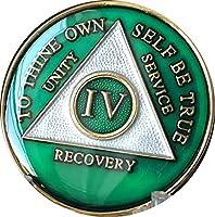 4年AA Medallionメタリックグリーンtri-plateゴールドメッキチップIV