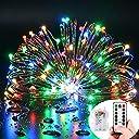 クリスマスライト ledイルミネーション 電池式 ストリングライト 10メートル 電飾 100電球 リモコン付き 室外 装飾 結婚式 パーティー 飾り ライト 正月 (カラー4色)