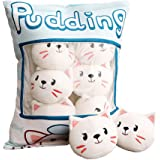 Cute Throw Pillow Stuffed Animal Toys Removable Fluffy Blue Pudding Cat Creative Gifts for Teens Girls Kid