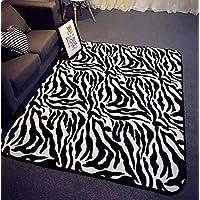 Ustide Zebra敷物のリビングルームモダンエリアラグブラックandホワイトラグ滑り止め子供ベッドルーム厚手カーペットベビークロールマット59
