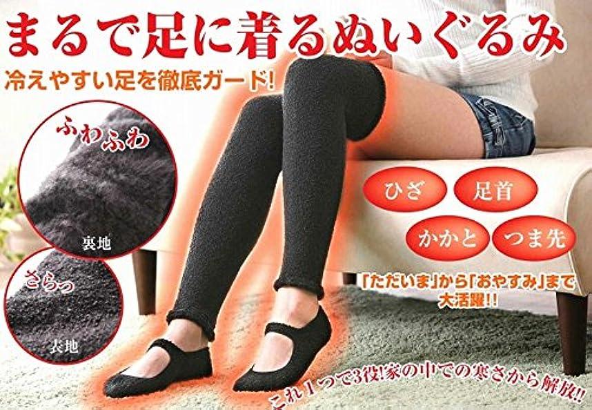 動作サークルうれしい冷えやすい足を徹底ガード ぬくモコデュオ  (レッグウォーマー&ルームシューズ セット) (ブラック)