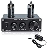 SUCA-AUDIO Tube-T1 Preamplifier, Vacuum Tube Amplifier Buffer Mini Hi-Fi Stereo Preamp with Treble & Bass Tone Control for Ho