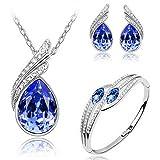 MAFMO Bridal Water Drop Jewelry Set Crystal Pendant Necklace Bracelet Stud Earrings