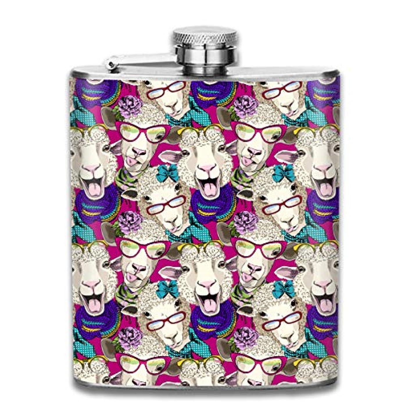 ダニシェルターあからさまおもしろい羊 フラスコ スキットル ヒップフラスコ 7オンス 206ml 高品質ステンレス製 ウイスキー アルコール 清酒 携帯 ボトル