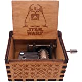 Star Wars Music Box Hand Crank Musical Box Antique Carved Wood Music Gifts for Christmas, Plays The Theme Song of Star Wars,