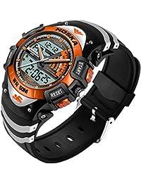 HOSKA かっこいい デジタル 腕時計 キッズ ガールズ ボーイズ 多機能 子供 スポーツウォッチ アラーム ストップウォッチ (オレンジ)
