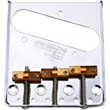 Wilkinson Fixed Guitar Bridge with Brass 3-Saddles - WTB Ashtray Bridges Set Replacement for Tele TL Style 6 Strings Electric