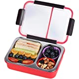 Bento Box 2 Compartments Stainless Steel Lunch Box for Adults and Kids, Portion Control Lunch Containers Leakproof, BPA Free