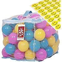 フタル酸BPAフリーつぶれないプラスチックボール100個、様々な色、ファスナーバッグ付き。無料プレゼント:Flysproの子供が楽しめるスマイリーステッカー48枚。