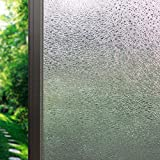 DuoFire® 窓用フィルム 目隠しシート【水で貼る 貼り直し可能】ガラスフィルム  遮光・遮熱・断熱シート 装飾フィルム 紫外線・UVカット, DF14001 (44.3 x 200cm)