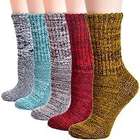 (コナミヤ) Konamiya レディース冷え取りウールソックス 足元を おしゃれに 柄 クルーソックス かわいい 防寒 冷えとりソックス パイル編みでぬくぬくあったか靴下 5足セットお買い得!