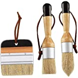 Paint Brushes Chalk and Wax Paint Brushes Bristle Brushes Furniture Flat Pointed Round Chalked Paint Brushes 3 Pieces