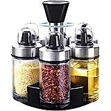 Mocy Olive Oil Dispenser and Vinegar Bottle Set of 6 Bottles, Glass Condiment Set with 360°Rotating Holder, Premium Salt & Pe