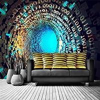 LJJLM クリエイティブ次元空間拡張トンネル壁紙大背景壁カスタム大壁画壁紙-420X280cm