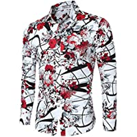 Cloudstyle Men's Shirt Stylish Slim Fit Button Down Long Sleeve Floral Shirt