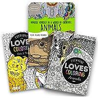 動物Coloring Book Set for Adults – - 3のパックプレミアム大人用カラーリングブック(動物コレクション)